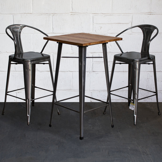 3PC Lodi Table & Favara Bar Stool Set - Steel