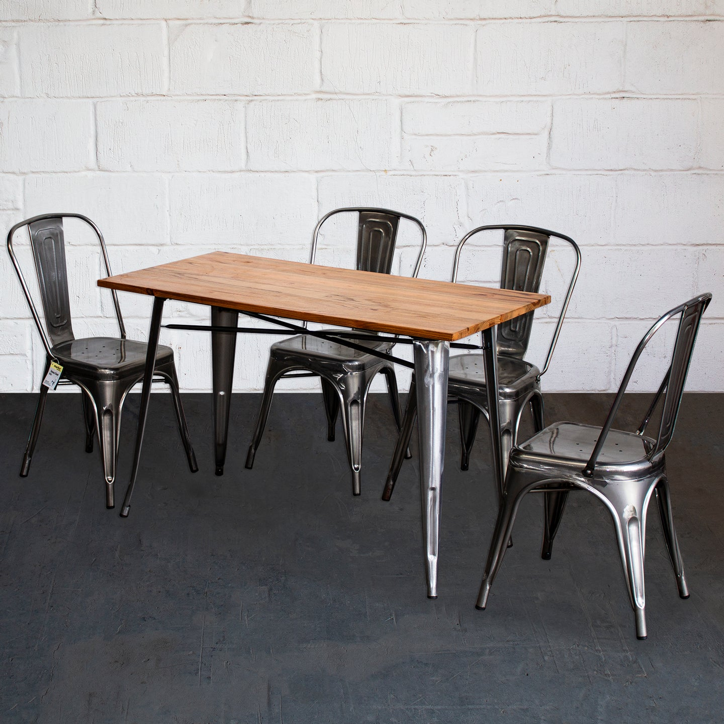 5PC Prato Table & 4 Siena Chairs Set - Steel