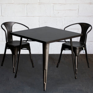 3PC Belvedere Table & Forli Chair Set - Gun Metal Grey