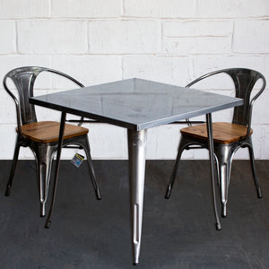 3PC Belvedere Table & Florence Chair Set - Steel