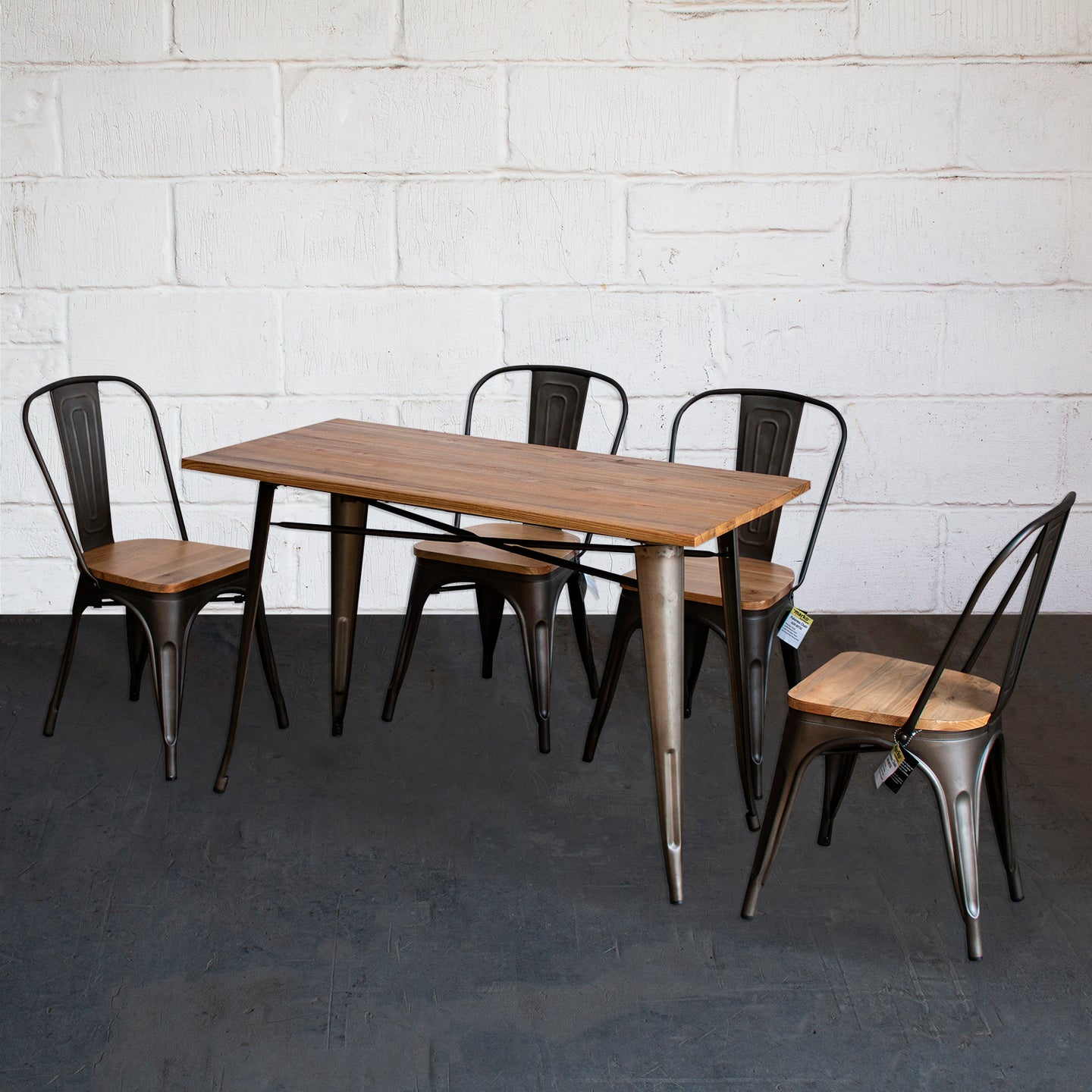 5PC Prato Table & 4 Palermo Chairs Set - Gun Metal Grey