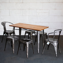 7PC Prato Table, 2 Forli Chairs & 4 Castel Stools Set - Steel