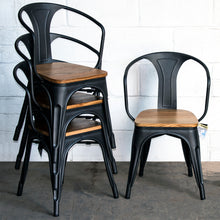 5PC Enna Table & Florence Chair Set - Onyx Matt Black