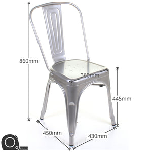 5PC Enna Table Siena Chair & Castel Stool Set - Steel