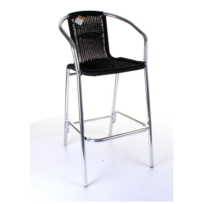 Kingstown Black Rattan Bar Stool