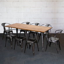 9PC Taranto Table, 5 Forli Chairs & 3 Castel Stools Set - Steel
