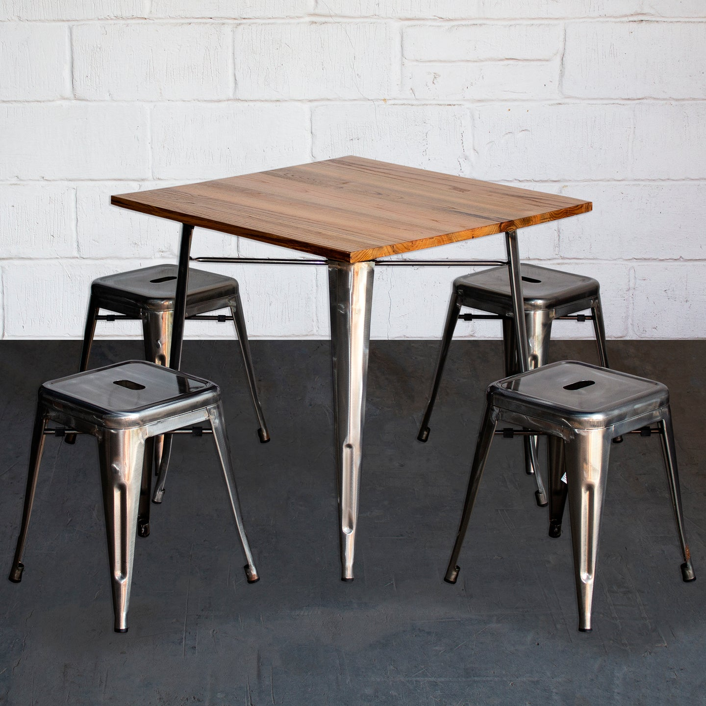 5PC Enna Table & Castel Stool Set - Steel