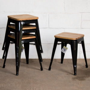 9PC Taranto Table & 8 Rho Stools Set - Black