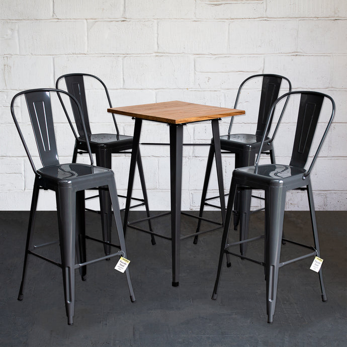 5PC Lodi Table & Pascale Bar Stool Set - Graphite Grey