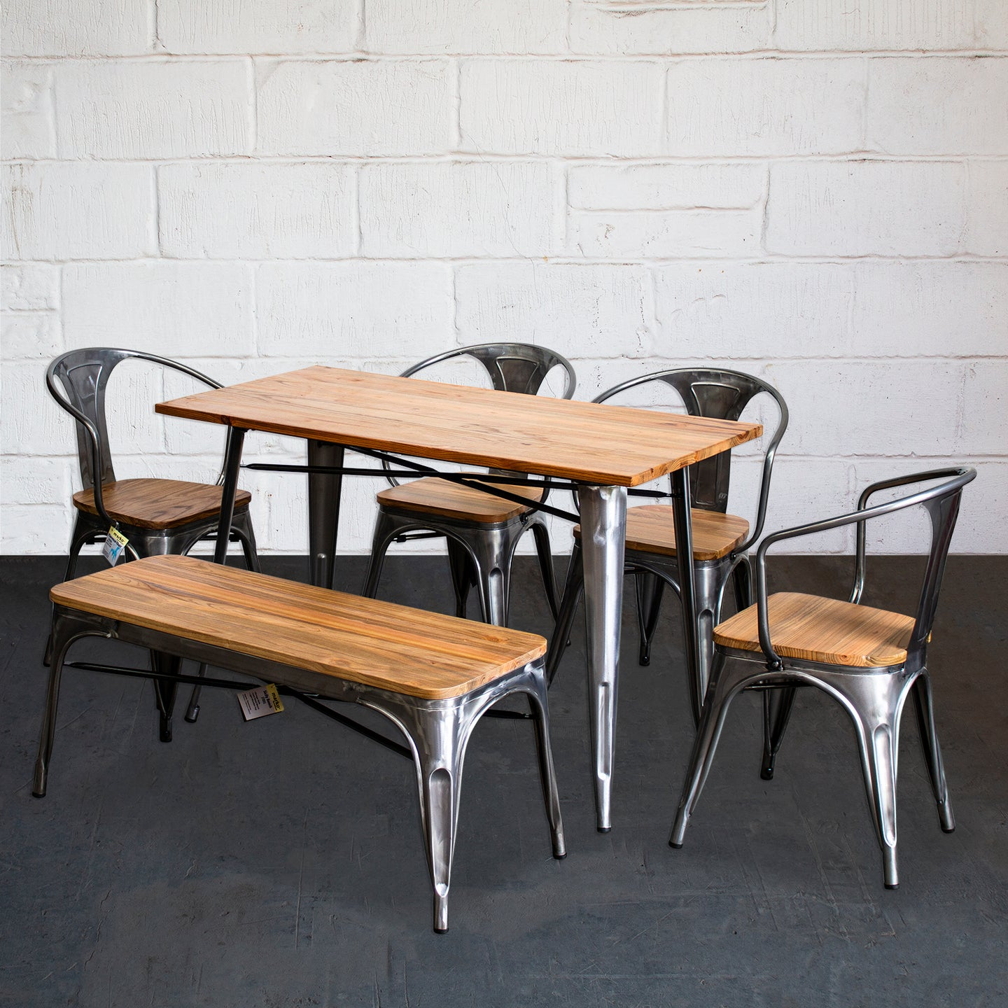 6PC Prato Table, 4 Florence Chairs & Sicily Bench Set - Steel