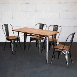 5PC Prato Table & 4 Palermo Chairs Set - Steel