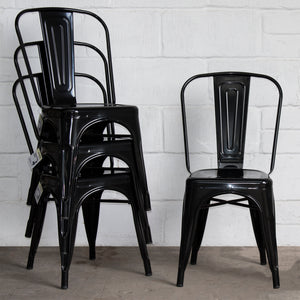 7PC Taranto Table & 6 Siena Chairs Set - Black