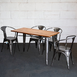 5PC Prato Table & 4 Forli Chairs Set - Steel