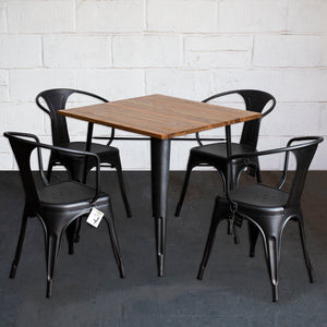 5PC Enna Table & Forli Chair Set - Onyx Matt Black