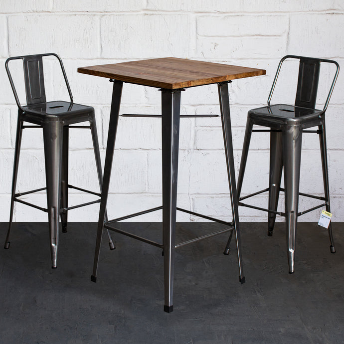 3PC Lodi Table & Naples Bar Stool Set - Steel