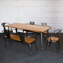 5PC Taranto Table, 2 Florence Chairs & 2 Nuoro Benches Set - Steel