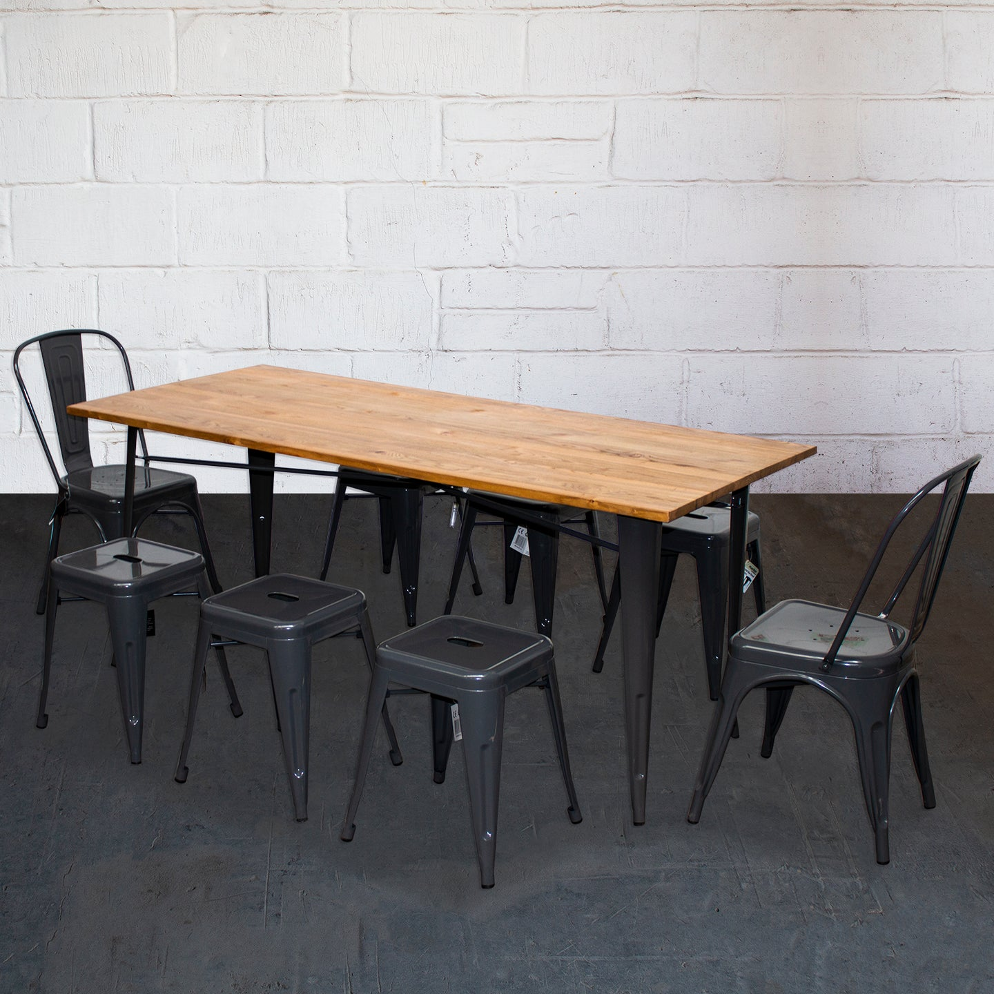9PC Taranto Table, 2 Siena Chairs & 6 Castel Stools Set - Graphite Grey