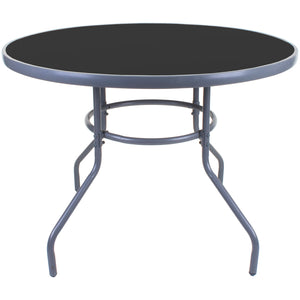 100cm Round Grey Glass Table