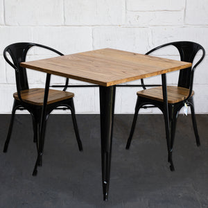 3PC Enna Table & Florence Chair Set - Black