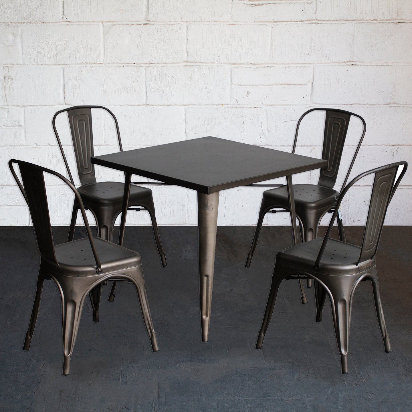 5PC Belvedere Table & Siena Chair Set - Gun Metal Grey