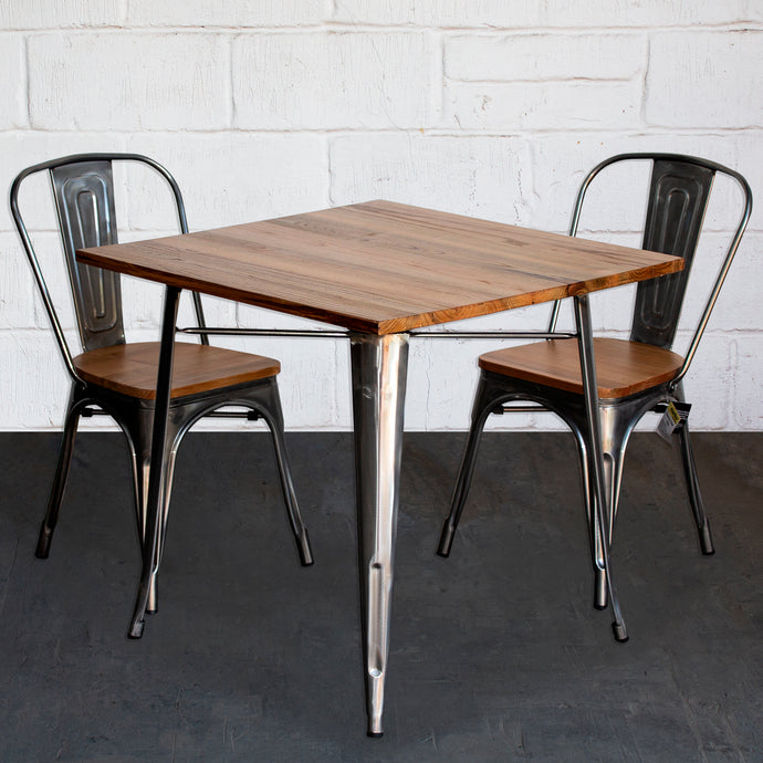 3PC Enna Table & Palermo Chair Set - Steel