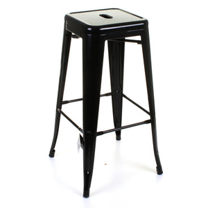 5PC Lodi Table & Orvieto Bar Stool Set - Black
