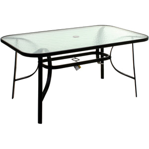 150cm Rectangular Glass Table