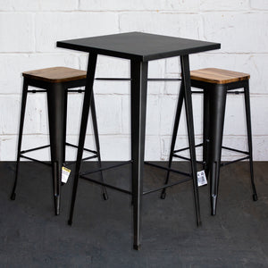 3PC Laus Table & Firenze Bar Stool Set - Onyx Matt Black