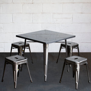 5PC Belvedere Table & Castel Stool Set - Steel