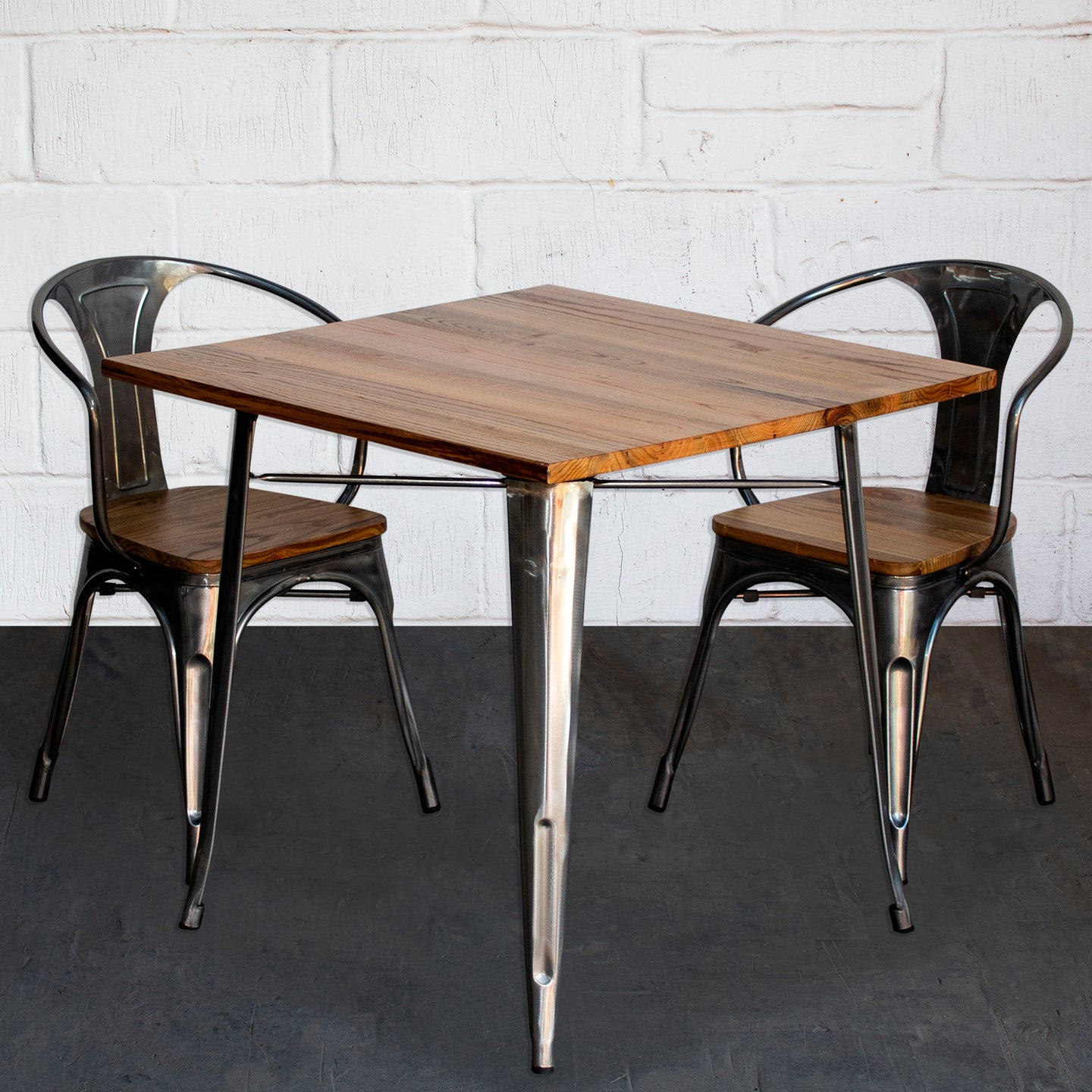 3PC Enna Table & Florence Chair Set - Steel