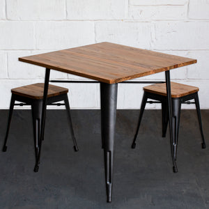 3PC Enna Table & Rho Stool Set - Onyx Matt Black