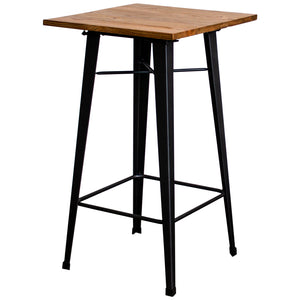 5PC Lodi Table & Favara Bar Stool Set - Onyx Matt Black