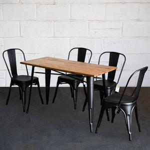5PC Prato Table & 4 Siena Chairs Set - Onyx Matt Black