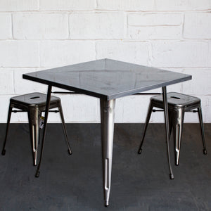 3PC Belvedere Table & Castel Stool Set - Steel
