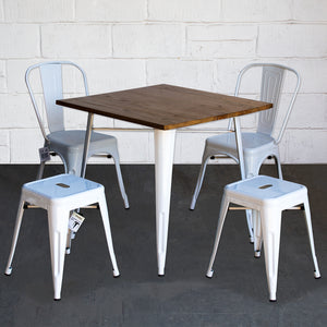 5PC Enna Table Siena Chair & Castel Stool Set - White
