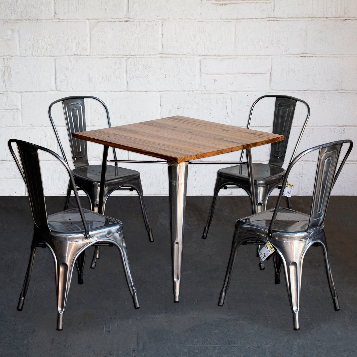 5PC Enna Table & Siena Chair Set - Steel