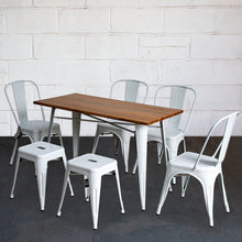 7PC Prato Table, 4 Siena Chairs & 2 Castel Stools Set - White