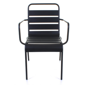 Slatted Bistro Armchair - Sand Grey