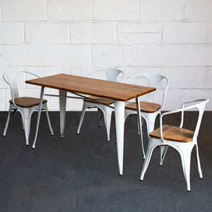 5PC Prato Table & 4 Florence Chairs Set - White