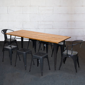 9PC Taranto Table, 2 Forli Chairs & 6 Castel Stools Set - Graphite Grey