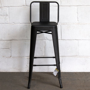 5PC Laus Table & Naples Bar Stool Set - Onyx Matt Black