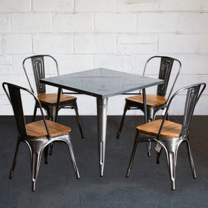 5PC Belvedere Table & Palermo Chair Set - Steel