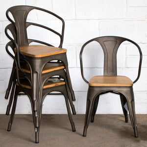 5PC Enna Table & Florence Chair Set - Gun Metal Grey