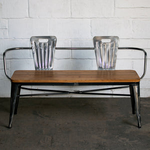 5PC Taranto Table, 2 Palermo Chairs & 2 Nuoro Benches Set - Steel