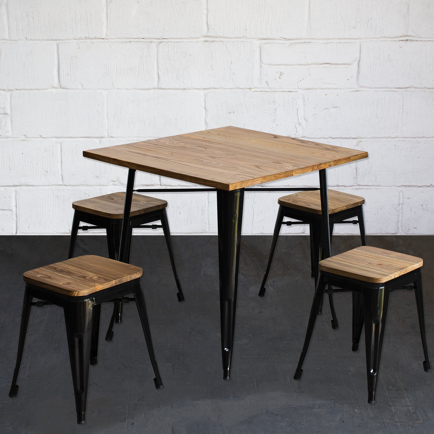 5PC Enna Table & Rho Stool Set - Black