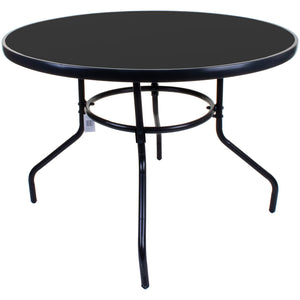 100cm Round Black Glass Table