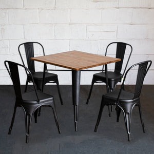 5PC Enna Table & Siena Chair Set - Onyx Matt Black