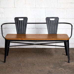 5PC Taranto Table, 2 Florence Chairs & 2 Nuoro Benches Set - Onyx Matt Black