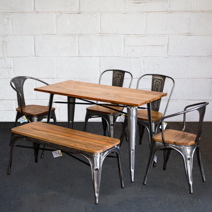 6PC Prato Table, 2 Florence Chairs, 2 Palermo Chairs & Sicily Bench Set - Steel
