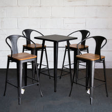 5PC Laus Table & Licata Bar Stool Set - Onyx Matt Black